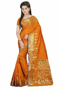 COTTON SILK ORANGE SAREE