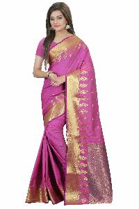 COTTON SILK SAREE WITH GOLDEN WORK
