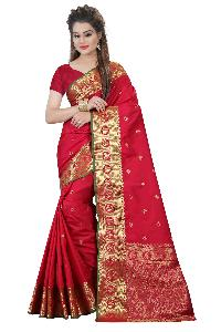 Decent Pure Silk Golden Work Saree
