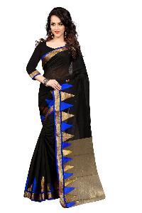 Designer Cotton Silk Saree Black