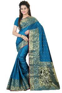 Elegant Blue Silk Cotton Saree