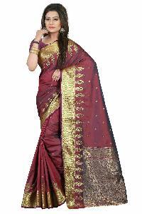 Elegant Maroon Cotton Silk Saree