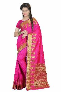 Lovely Pink Pure Silk Cotton Saree