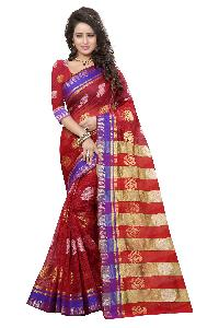 RED AND BLACK PURE COTTON SILK SAREE