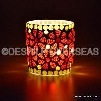 Red Mosaic Candle Votive