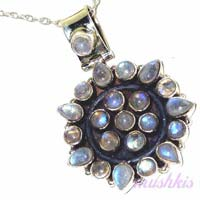 Sterling Silver Stone Studded Pendant Necklace