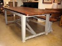 Wooden White Metal Work Dining Table