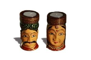 Wooden Face Shaped Tea Light Candle Holders