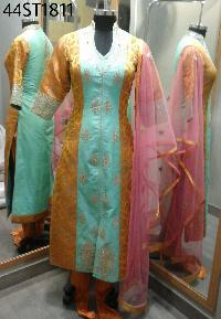 Embroidered Zari Long Suits