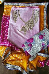 Silk Bandhani Unstitched Suits