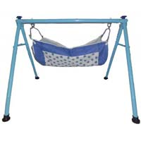 Powder Coated Round Pipe Blue Color Folding Baby Cradle