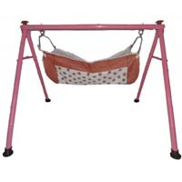 Powder Coated Round Pipe Dark Pink Color Folding Baby Cradle