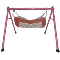 Powder Coated Round Pipe Pink Color Folding Baby Cradle