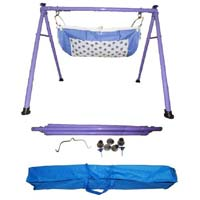 Purple Color Round Pipe Folding Baby Cradle