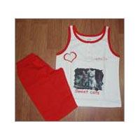 Kids Sleeveless T-shirts Shorts Pants Set