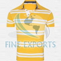 Yellow And White Stripe Polo T-shirt