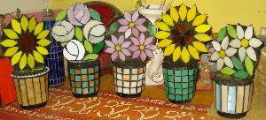 Flowers Planters Glass Mosaic