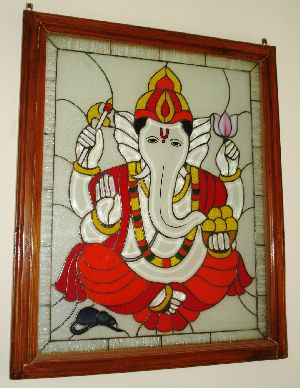 Shri Ganesh Stained Glass Wall Panel