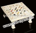 White stone marble Inlay table top