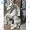 White Marble Standing Horse Statue