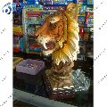 yellow marble tiger head statues