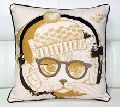 Face Art Embroidered Cotton Cushion
