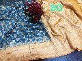 pure linen banarasi silk saree having contrast border rich pallu