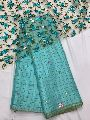 Soft jute silk saree with mirror hand work and fancy blouse