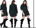 Cotton Green & Black Twill Dress