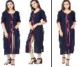 Rayon Blue  Embrderied Kurtis