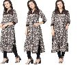Rayon Grey & White  Embrderied Kurtis