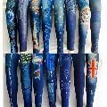 Ladies Printed Dark Blue Denim Jeans