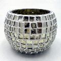 Square Silver Mosaic Round Glass Votive