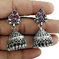Antique Look 925 Oxidized Sterling Silver Ruby Gemstone Earring Vintage Jewelry
