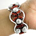 Fabulous ! Pearl Red Coral 925 Sterling Silver Bangle