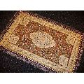 Silk Zari Floral Jewel Carpet