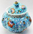 Jaipuri Ceramic Handmade blue pottery Lotus jar