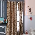 Floral Printed Brown Door Polyester Curtains