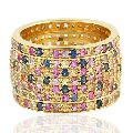 Gold Multi Sapphire Beautiful Women Band Ring