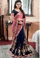 Pink and Black Embroidered Sarees