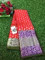 Pure soft silk sarees with silver zari weaving