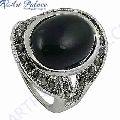 Ingenious Black Onyx and Gun Metal Marcasite Silver Ring