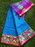 Pure handloom mangalagiri pattu pochampally border sarees with zari checks