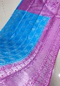Pure Handloom Dupion Weaving Sarees with silver zari and contrast blouse