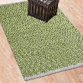 Green Zig Zag Hand Tufted Cotton Plain Border Rugs