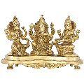 Handmade Indian Brass Ganesha Lakshmi and Saraswati Statue