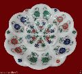 Marble Dry Fruit Bowl Semi Multi Floral Mosaic Inlay Kitchen Arts Gift