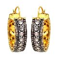Natural 2.95ct Rose Cut Diamond 14k Gold Hoop Earrings Silver Fine Jewelry