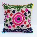 Embroidered Cotton Canvas Cushion cover