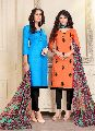 Blue And Orange Colored Cotton Butti And Chanderi Salwar Suit